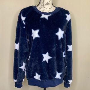 Navy/white star fleece shirt size XL(15-17)